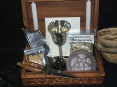 Wood Portable Basic Ritual Altar-In-A-Box Kit By MaidenMotherCrone.etsy.com