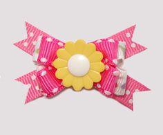 #BTQM540 - Mini Boutique Bow Flower Power, Yellow/Pink
