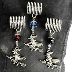 Scarf Jewellery Pendant Slider, Scarf Ring, Crystal Beading - Witches Three! £6.50