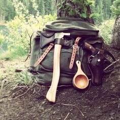 Bushcraft day pack going old school with a Ruger GP-100 revolver.
