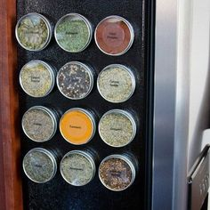 Looking for a modern magnetic spice rack - without the rack? Try Dell Cove Spice Co.'s magnetic spice tins - food safe round metal tins - for organizing your kitchen spices or DIY favors or gifts. Time for spring cleaning? These reusable canisters will stick to anything metal - a metal panel on a wall, the door of a refrigerator, even on an oven hood.    EACH ORDER RECEIVES: 10 empty magnetic tins, one sheet of labels, care instructions for your tins, and several recipes.