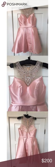 Blush see through neckline Short, beautiful and fluffy. Not Sherri hill just used for exposure Sherri Hill Dresses Prom