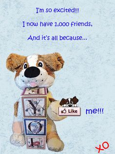 """I'm so excited!!!    Today we reached a thousand FUR-EVER friends on my Facebook page.    I LOVE MAKING """"FUR-EVER"""" FRIENDS.    If you would like to be one of them, please join us at: http://www.facebook.com/bowwowie    Until next time… STAY PAWSITIVE!"""