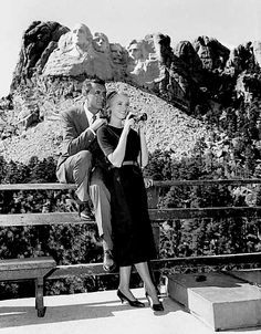 "Cary Grant and Eva Marie Saint on location for ""NORTH BY NORTHWEST"" (1959)."