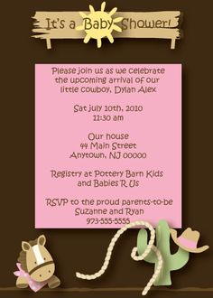 Giddy Up! Cowboy or Cowgirl Themed Baby Shower or Birthday Party Invitation from Urbanity Studios. All colors can be personalized free of charge.