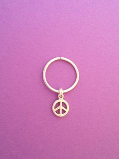 Septum, Nipple,Tragus, Cartilage Earring With Peace Sign, Sterling Silver 12mm 18g, Continuous Hoop