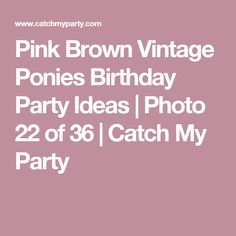 Pink Brown Vintage Ponies Birthday Party Ideas | Photo 22 of 36 | Catch My Party
