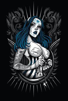 Muerte Lisa by Dayne Henry Jr (romidion) Fantasy Anime, Fantasy Art, Art Pop, Digital Art Illustration, Arte Lowrider, Aztecas Art, Illustrator Cs5, Chicano Art, Skull Art