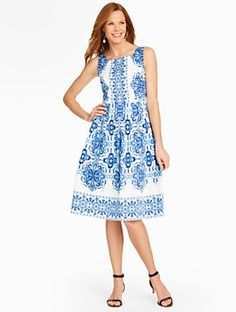 Talbots - Grecian Tile Pleated Dress | | Misses Discover your new look at Talbots. Shop our Grecian Tile Pleated Dress for stylish clothing and accessories with a modern twist at Talbots