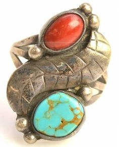 Southwestern style turquoise silver leaf ring