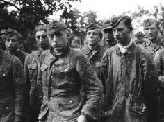 Youngster recruits of the Waffen SS Panzerdivision Totenkopf taken prisoner by the Americans in Normandy, June-July 1944.