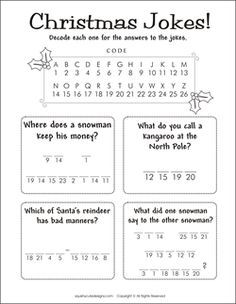 Christmas jokes for kids - Christmas riddles - kids party games, activities - de. - Christmas jokes for kids – Christmas riddles – kids party games, activities – decode a messag - Christmas Jokes For Kids, Christmas Activities For Kids, Printable Activities For Kids, Christmas Printables, Christmas Word Search Printable, Free Printable Christmas Worksheets, Xmas Jokes, Free Printables, Christmas Trivia