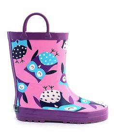 Purple Owl Rain Boot
