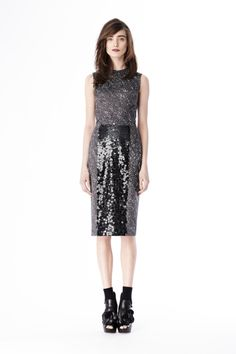 Look 24 from Vera Wang - Black confetti satin sheath dress with sequin skirt panel