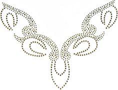 BORDADOS EM PEDRARIA: RISCOS PARA DECOTES Bead Embroidery Patterns, Tambour Embroidery, Embroidery Needles, Ribbon Embroidery, Beaded Embroidery, Beading Patterns, Embroidery Designs, Bordados Tambour, Crystal Fashion