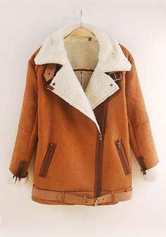 Khaki Plain Zipper Long Sleeve Cashmere Wool Coat hot dang