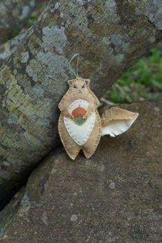 Squirrel pattern instant pdf download handmade forest animal felt ornament