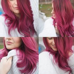 Vibrant Red Violet Hair Color Sombre
