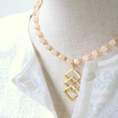 Golden Chevron Pendant and Pink Bead by NestPrettyThingsShop