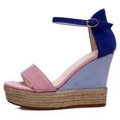 Color Block Wedge Sandals (€50) ❤ liked on Polyvore featuring shoes, sandals, pink wedge shoes, platform wedge shoes, platform shoes, high heel shoes and wedges shoes