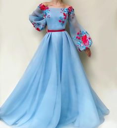 blue party dress long sleeve evening dress tulle applique prom dress off shoulder ball gown - 2020 New Prom Dresses Fashion - Fashion Of The Year Elegant Dresses, Pretty Dresses, Beautiful Dresses, Evening Dresses With Sleeves, Long Gown With Sleeves, Modest Evening Gowns, Dress Shapes, Prom Dresses, Formal Dresses