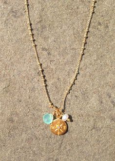 Vermeil Compass Necklace with diamond.