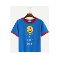 849f9d5268 SheIn(sheinside) Blue Contrast Trim Smile Face Slogan Print T-shirt ($8.99