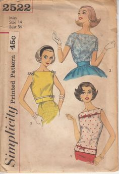 Vintage 50s Sewing Pattern BLOUSE and OverBlouse by HoneymoonBus, $11.99