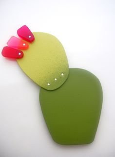 """NOPALES""- Series. -Brooch- Painted brass, plastic, silver, Steel. (E.Inzunza) 2013."