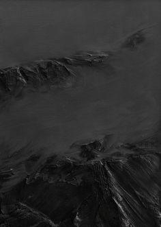"Abstract black and gray painting, mountains, ""zwischen himmel und erde nr. 27"" by Conrad Jon Godly, 2008 www.conradjgodly.com Abstract Landscape, Landscape Paintings, Conrad Jon Godly, Black Art, Black And White, Photo Canvas, Oil On Canvas, The Darkest, Modern Art"