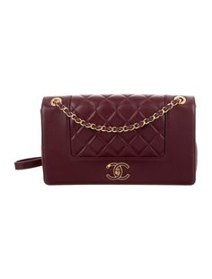 90b7de88c77ce8 Burgundy quilted leather Chanel Mademoiselle Vintage Medium Flap Bag with  gold