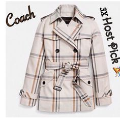 Host Pick  Coach Trench Coat NWOT Gorgeous Coach trench coat with plaid design with ecru base and brown, gray and black plaid. Black buttons as well as black bucket on belt and detail around both sleeves. Wonderful classic design! Worn once!                                    No trades or Paypal!                                               Price is firm! Coach Jackets & Coats Trench Coats
