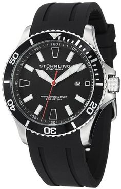 Stuhrling Original Men's 706.01 Aquadiver Regatta Diver Sport II Quartz Date Black Rubber Strap Watch