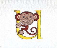 Monkey Monogram Initial Letter U Personalised Embroidery Design