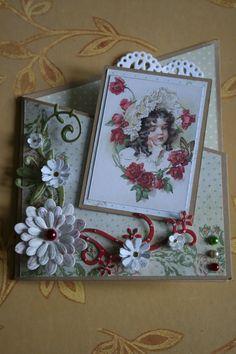 Vintage kaart meisje met muts.  € 1.30