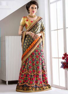 http://www.sareesaga.in/index.php?route=product/product&product_id=23669 Style:Lehenga SareeShipping Time:10 to 12 Days Occasion:Festival ReceptionFabric:Net Jacquard Colour:Grey Work:Embroidered Patch Border Work Resham Work Zari Work For Inquiry Or Any Query Related To roduct, Contact :- 91-9825192886, +91-405449283