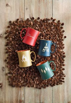 These camping-themed terra-cotta coffee mugs come packaged in equally campy gift boxes for Christmas.
