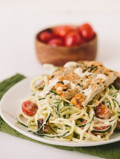 Gluten-Free Caesar Zucchini Noodles with Lemon-Parsley Chicken and Tomatoes