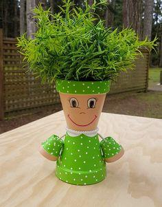 clay pot crafts Little Miss Clay Pot People Terracotta Planter Flower Pot Art, Clay Flower Pots, Flower Pot Crafts, Painted Flower Pots, Clay Pot Crafts, Painted Pots, Clay Pots, Hand Painted, Clay Pot Projects
