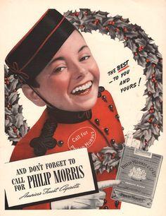 1940 Philip Morris Cigarette print ad Christmas theme by Vividiom, $8.00