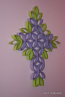 "made from toilet paper/paper towel rolls and painted.  from ""full of great ideas"" blog"