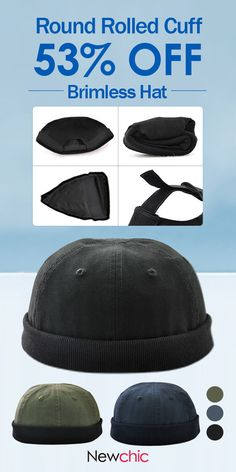 1ab12f9b853 Men Women Plus Size Retro Brimless Hat Adjustable Hats For Big Head Rolled  Cuff Sailor Cap is hot sale on Newchic.