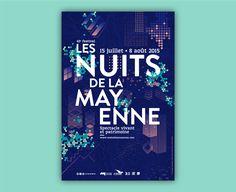 FRANCE - Pollen Studio (Rennes) - affiche pour l'évènement Les Nuits de la Mayenne (2015) Graphic Design Layouts, Graphic Design Studios, Graphic Design Posters, Graphic Design Inspiration, Layout Design, Graphic Art, Site Design, Design Art, Print Design