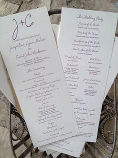 Custom Wedding Program Tea Length Casual Script by michellesasser, $0.85
