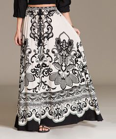 Another great find on #zulily! Khaki & Black Pop Damask Maxi Skirt by Flying Tomato #zulilyfinds