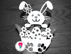 Girl Easter Bunny Rabbit Papercut Template SVG / DXF Cutting File for Cricut / Silhouette Diy Craft Projects, Diy And Crafts, Crafts For Kids, Paper Cutting, Diy Ostern, Paper Cut Design, Paper Stars, Easter Holidays, Bunny Rabbit