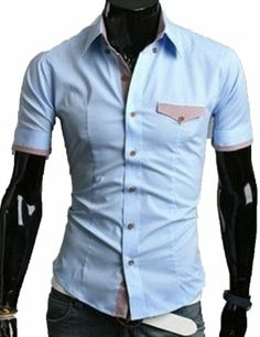 Mens Luxury Casual Slim fit Stylish Dress Short Sleeve Shirt 5Colors 4Size (US Size :L(Asia size:XXL), sky blue) TRURENDI, To SEE or BUY just CLICK on AMAZON right here http://www.amazon.com/dp/B00JQVLSTQ/ref=cm_sw_r_pi_dp_qJeDtb0235QMG8KK