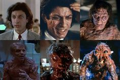 One of the most amazing makeup transformations. Actor Jeff Goldblum turns into The Fly in David Cronenberg's movie from 1986 with the use of prosthetc makeup, full-body monster suit and animatronic puppets, designed and created by award-winning special effects makeup team, led by Chris Walas and Stephan Dupuis.