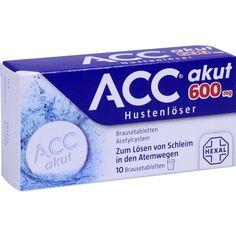 ACC akut 600 Hustenlöser und Schleimlöser Brausetabletten:   Packungsinhalt: 10 St Brausetabletten PZN: 06197481 Hersteller: Hexal AG…