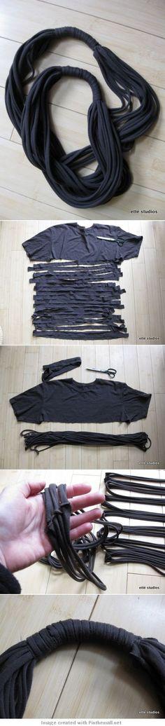 DIY Upcycled Rope Tshirt Scarf Tutorial.